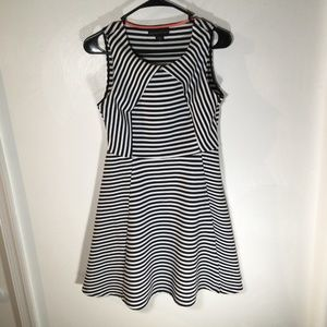 Attention Black White Stripe Dress Size Small D15